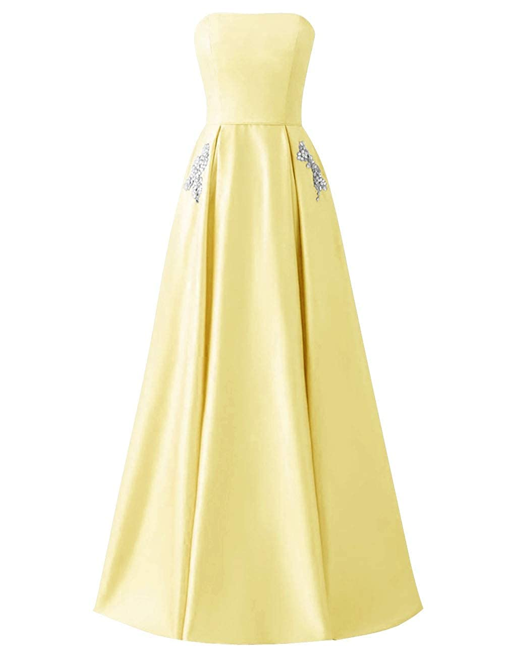 Daffodil MorySong Women Strapless Beading Pocket Prom Dress Satin Long Evening Party Gown