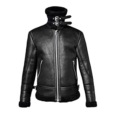 e25b3e77a7f Mens Warm Jacket Vintage Fall Winter Full Zipper Thicken Sherpa Lined  Motorcycle Bomber Faux Leather Outwear