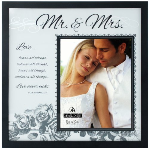 (Malden International Designs Wedding Mr. and Mrs. Glass Floater Picture Frame, 8x10/16x16, Black)