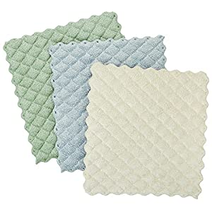Envision Home 3-Pack Microfiber Quilted Kitchen Dish Cloths, 6-1/2 by 7-1/2-Inch