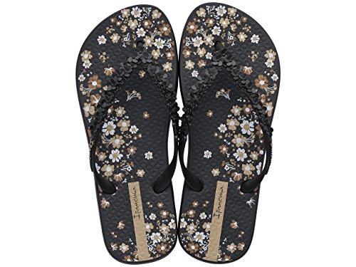 Ipanema Women's Fashion Floral Flip Flops Printed Footbed Strap Detail Black qKLBPGtf