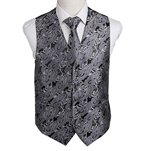 EGD2B02C-L Grey Working Day Patterns Microfiber Dress Tuxedo Vest Neck Tie Set Excellent For Bridegrooms By Epoint