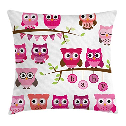 (Ambesonne Nursery Throw Pillow Cushion Cover, Girl Baby Shower Themed Owls and Branches Adorable Cartoon Animal Characters, Decorative Square Accent Pillow Case, 18 X 18 Inches, Purple Pink)