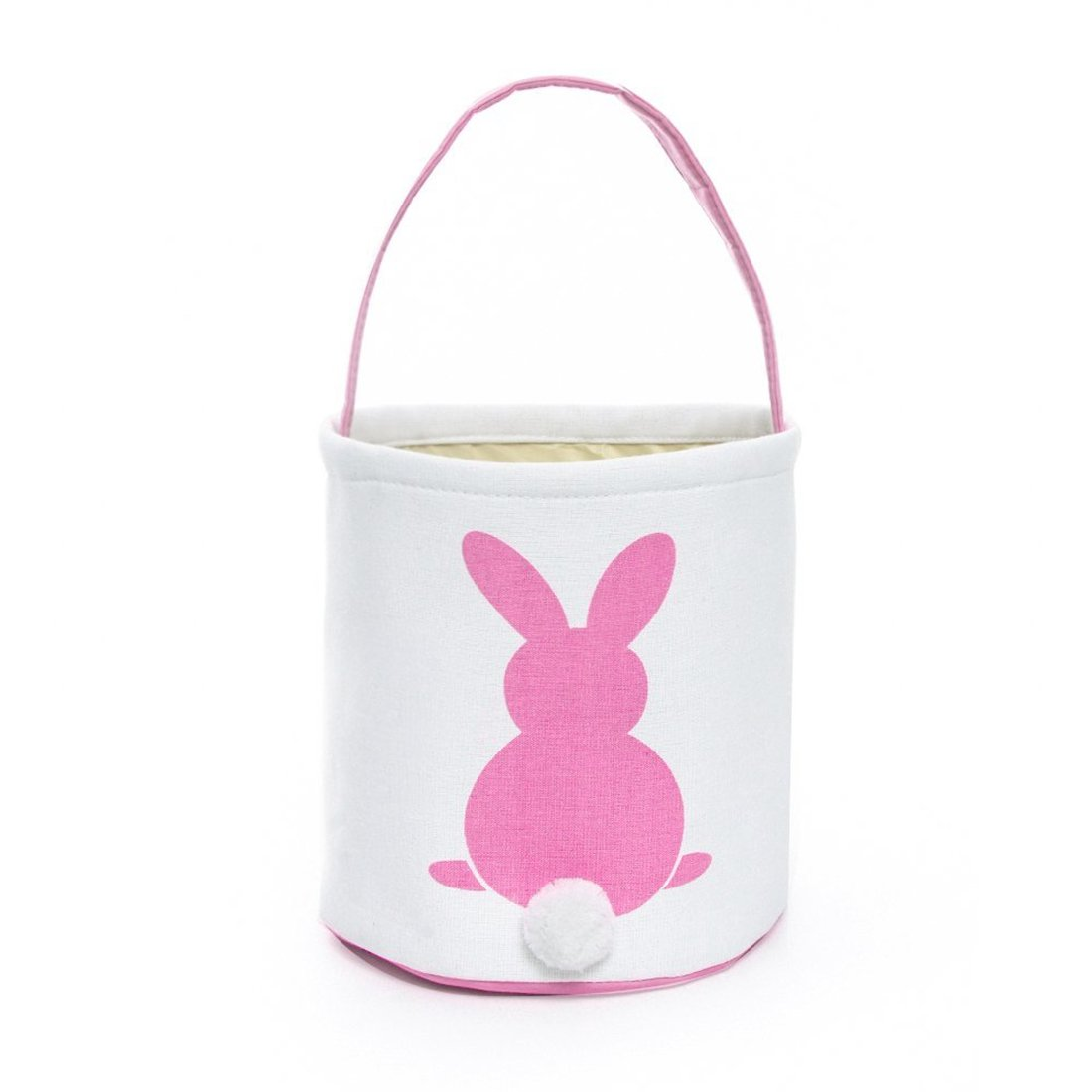 GWELL 4 PCS Foldable Gift Basket Bucket for Kids Egg Hunt Easter Bunny Basket Goodies Canvas Bag with Bunny Tail Pompom Candies DIY Gifts