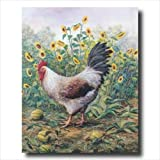 Rooster Chicken Sunflower Animal Wall Picture 16x20 Art Print