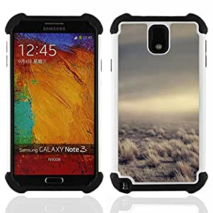GIFT CHOICE / Defensor Cubierta de protección completa Flexible TPU Silicona + Duro PC Estuche protector Cáscara Funda Caso / Combo Case for Samsung Galaxy Note 3 III N9000 N9002 N9005 // Desert Clouds Somber Nature Summer //