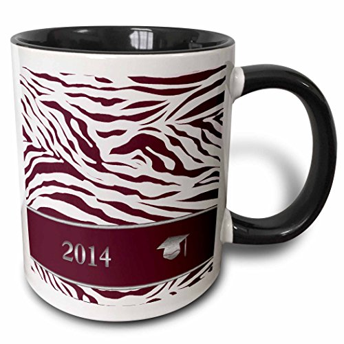 3dRose Beverly Turner Graduation Design - 2014 Zebra Print with Graduation Cap, Red - 15oz Two-Tone Black Mug (mug_180902_9) (Graduation Invitation Zebra)