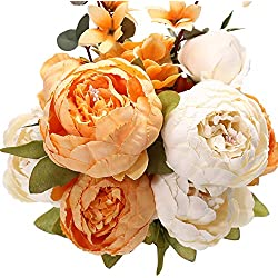 Uworld Artificial Flowers Silk Plastic Fake Peony Flower Vintage Peonies Bouquet DIY Wreath for Home Wedding Centerpieces Décor (Orange White)
