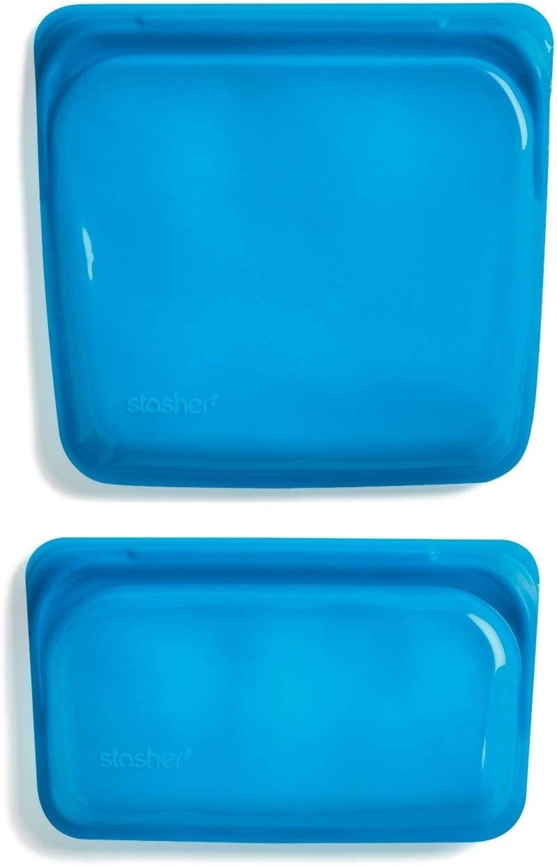 Stasher 982/992 Re-Usable Food-Grade Platinum Silicone Sandwich and Snack Bag for Eating from/Cooking, Freezing and Storing in/Protecting Electronic Devices/Organising/Travelling, Set of 2, Agave