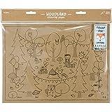 """'Manteles individuales papel """"Animales del bosque de colorear + 6lápices, para niños"""