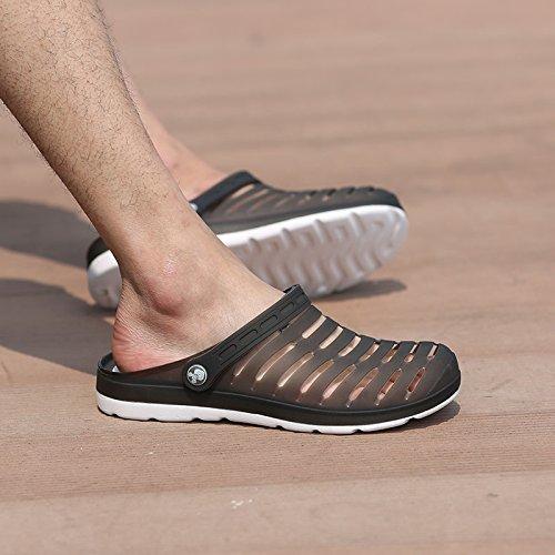 Xing Lin Flip Flop De La Playa Los Hombres Del Agujero De Verano Zapatos Zapatillas Calzado De Playa De Moda La Mitad Femenina Zapatillas Sandalias De Tamaño Grande De Parejas 233-1 black and white