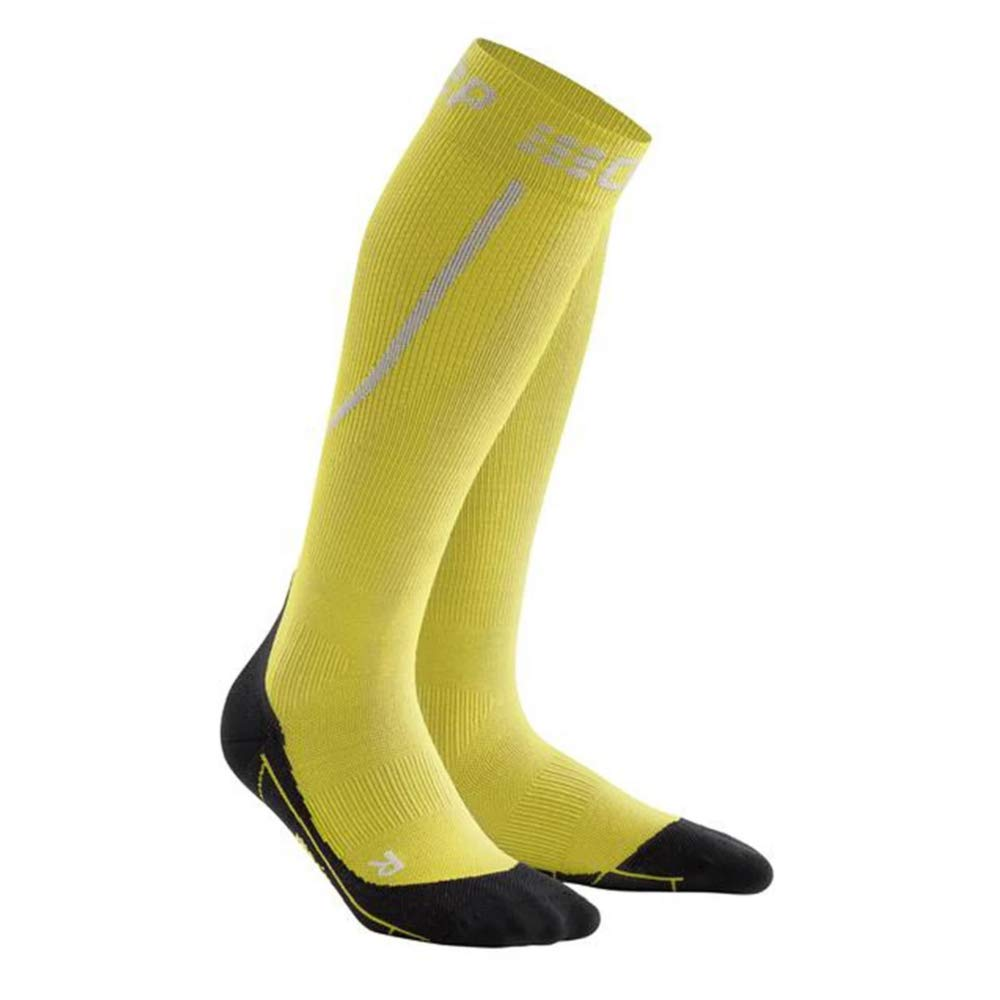 Mens Long Compression Wool Sock - CEP Trail Merino (Yellow/Black) IV by CEP