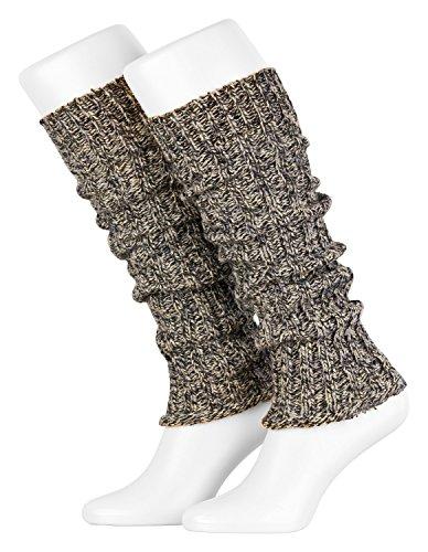 Piarini Damen-Stulpen Legwarmer Wolle Farbe Multicolour-grau