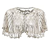 Lamosi Women's 1920s Shawl Beaded Sequin Deco Wedding Cape Evening Wrap Flapper Cover Up-Silver+Beige