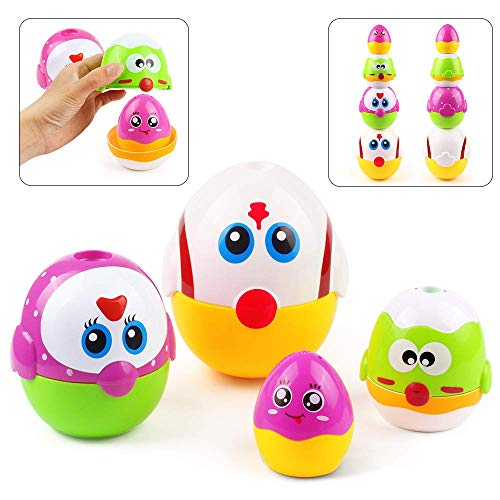 AMOSTING Easter Egg Educational Toys Nesting Dolls for Toddler, Preschool Learning Stacking Toys for Baby Girls and Boys