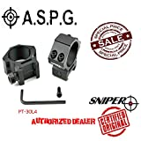 Sniper 30mm Low Profile Scope Rings for Picatinny/ Weaver Rail; 4 points for secure contact