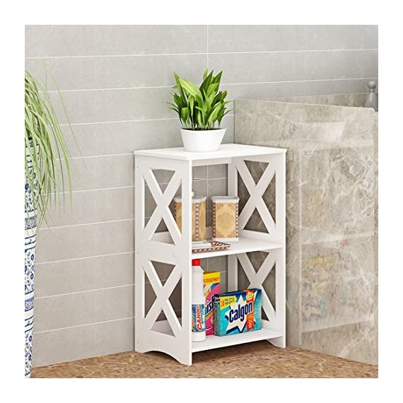 """Rerii End Table, 2 Tier Small Side Table, Simple Bedside Nightstand, Small Bookcase Bookshelf, Display Rack Shelf for Bathroom, Bedroom and Living Room, White - 【WOOD PLASTIC COMPOSITE】This little storage rack is made of of WPC(Wood Plastic Composite),which is a new eco-friendly material for furniture using,smooth surface can be easily cleaned with wet cloth; Suitable for any places,such as living room, bedroom, bathroom, office, kitchen, hallway etc 【ADORABLE & LIGHTWEIGHT】The bookshelf is SMALL (15""""L x 10.2""""W x 23.6""""H) and cute with color white as well as the X design on the sides,which goes well with any style of decoration; Such a little bookshelf is pretty lightweight and fairly easy to move around,great for someone who moves often 【VERSATILE & PRACTICAL】This little organizer shelf is multi-functional that you can use it many places in your house.As a decorative shelf for small plants, toys or knickknacks; As a little bookcase to store all your DVD movies and small books; As a bathroom shelf to store your makeup, hair or beauty items; As a kitchen storage rack for for organize some snacks and foods - shelves-cabinets, bathroom-fixtures-hardware, bathroom - 51e1Nba%2BTCL. SS570  -"""