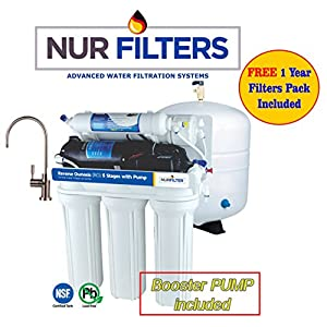 NURFILTER (50-gpd) 5-Stage Ultra,Safe & GREAT Reverse Osmosis Drinking Water Filter System with BOOSTER PUMP, (Complete kit 3.2Gal tank & Faucet) INCLUDE -1 YR OF FILTERS SET FREE!!!!