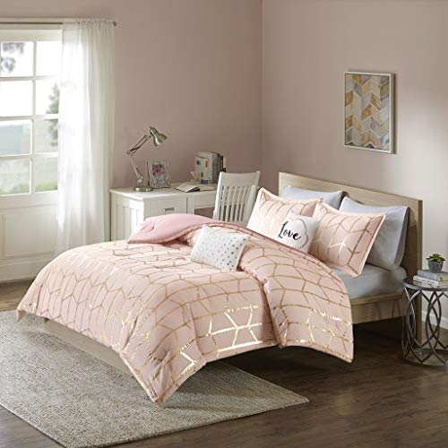 (Intelligent Design Raina Comforter Set Twin/Twin XL Size - Blush Gold, Geometric - 4 Piece Bed Sets - Ultra Soft Microfiber Teen Bedding for Girls Bedroom (Renewed) )