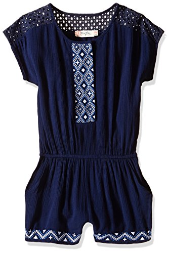 Miss Me Girls' Big Embroidered Short Sleeve Romper, Navy, Large ()