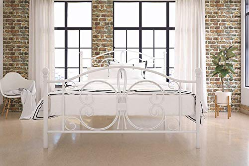Nova Natural White Metal Bed Frame, Kids Twin, and Full Bed with Vintage Scroll Elements, Rustic Full-Size Bed Frame with White Headboard and Footboard, Fullsize Princess Bed Frame (Full)