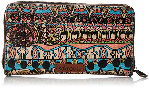 Sakroots Unisex-adults Large Zip Around Wallet, Aqua One World (World Best Wallet Brand)