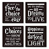 Harry Potter Quotes & Sayings Coasters - Set of 4 Coasters for Drinks - 4''x 4x 0.19'' Cork Backing - Great Harry Potter Gifts Home & Office Decor
