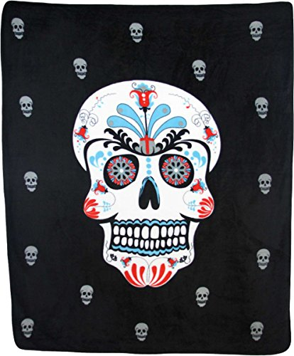 Day of Dead Sugar Skull Skeleton 50x60 Polar Fleece Blanket
