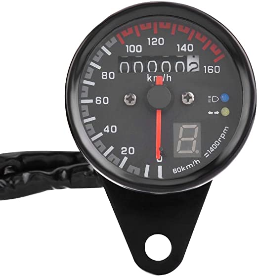 Black Acouto 6 Line Circle Odemeter Clear Digital Speedometer Built-in Highlight LED Night Ligh with LED Indicator