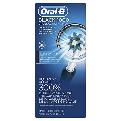 Oral-B 1000 CrossAction Electric Toothbrush, Black, Powered via Braun