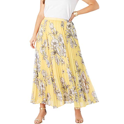 Jessica London Women's Plus Size Pleated Maxi Skirt - Yellow Sketch Floral, 16 W ()