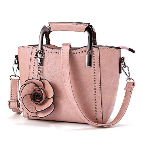 Top-Handle Bags, JOSEKO Women PU Leather Retro Rose Handbag Mini Crossbody Bag Pink 7.48''(L) x 3.94''(W) x 7.09''(H) (Retro Bags Leather)