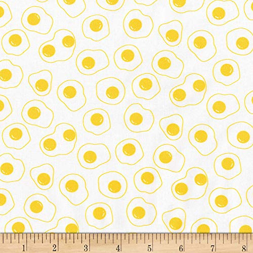 Robert Kaufman Kaufman On The Lighter Side Eggs Yellow, Fabric by the Yard