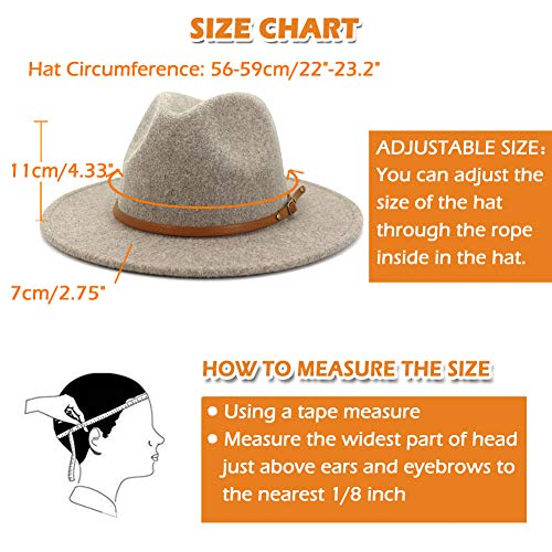 Lisianthus Women Belt Buckle Wool Wide Brim Fedora Hat