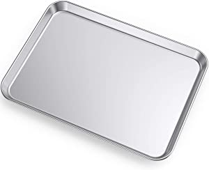 Large Baking Sheets, HKJ Chef Baking Pans & Stainless Steel Cookie Sheets & Toaster Oven Tray Pans, Rectangle Size 24L x 16W x 1H inch & Non Toxic & Healthy,Superior Mirror & Easy Clean