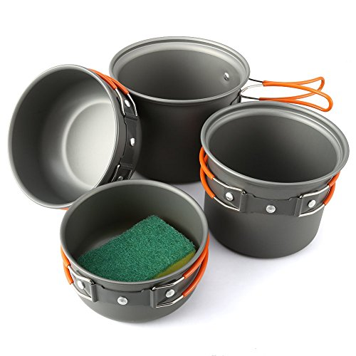 Camping Cookware Mess Kit 5 Piece, EZOWare Lightweight Aluminum Cookware Cooking Pan Pot Set For Outdoor Backpacking Camping Hiking Picnic (Camper Shoe Cleaner)