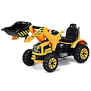 Costzon 12V Battery Powered Kids Ride On Excavator, Electric Truck with High/Low Speed, Moving Forward/Backward, Front Loader Digger, Yellow by Costzon