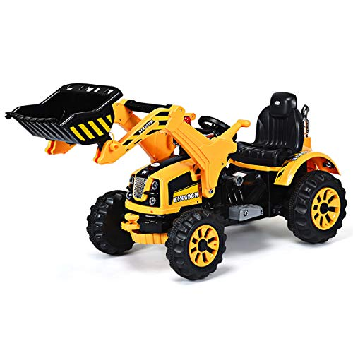 (Costzon 12V Battery Powered Kids Ride On Excavator, Electric Truck with High/Low Speed, Moving Forward/Backward, Front Loader Digger, Yellow)