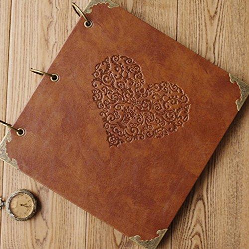 Personalized Scrapbook Albums (XIDUOBAO Retro Leather Photo Album Special Scrapbook DIY Anniversary Scrapbook Album,Vintage Photo Album,Love Heart Wedding)