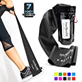 fitness training - SUPER EXERCISE BAND X Heavy BLACK Resistance Band. Your Home Gym Fitness Equipment Kit for Strength Training, Physical Therapy, Yoga, Pilates, Chair Workout | LATEX FREE For ALLERGIC SAFETY | 7 ft
