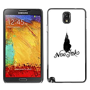 A-type Colorful Printed Hard Protective Back Case Cover Shell Skin for SAMSUNG Galaxy Note 3 III / N9000 / N9005 ( New York Chrysler White Black Empire )