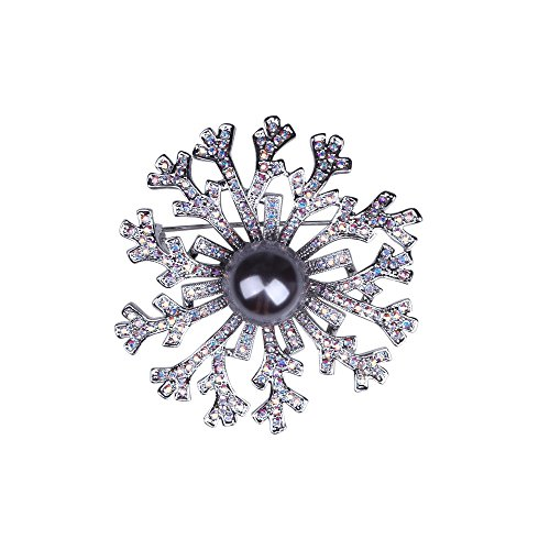 Flower Exquisite Brooch (Exquisite Flower Brooch Pin Swarovski Crystal Rhinestone Brooches for Women Wedding Party Jewelry Gift (Grey))