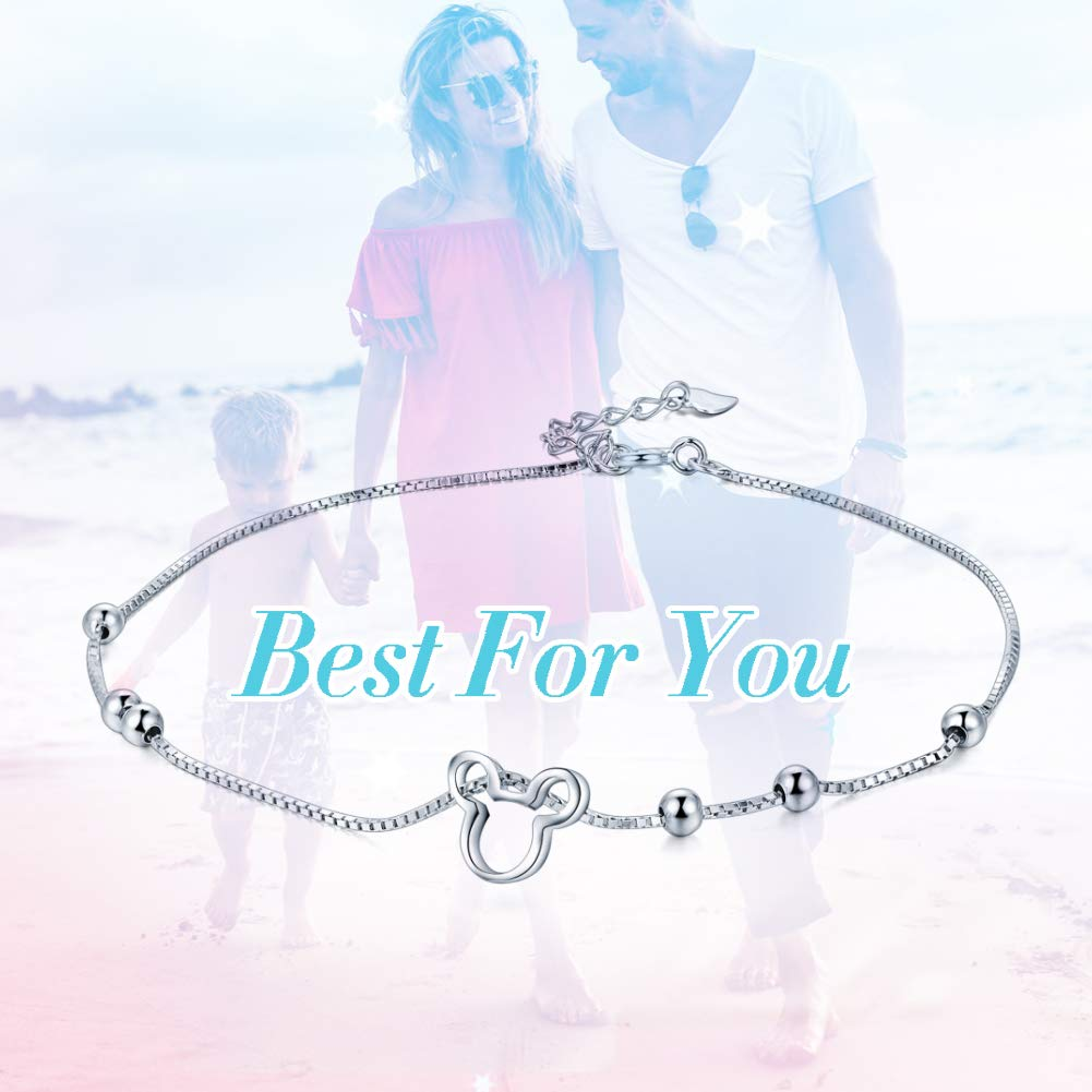 Women Anklet 925 Sterling Silver Cute Mouse Ball 24cm//10 Adjustable Anklet,Summer Beach Foot Jewelry For Girls Nickel Free