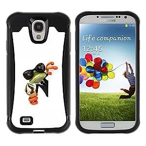 LASTONE PHONE CASE / Suave Silicona Caso Carcasa de Caucho Funda para Samsung Galaxy S4 I9500 / Cream Frog Shades Sunglasses Green White