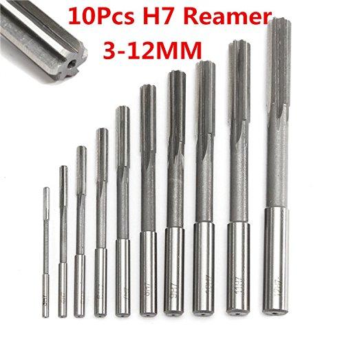 EsportsMJJ 10pcs 3-12mm HSS Machine Reamer Set H7 Straight Shank Milling Chucking Reamer