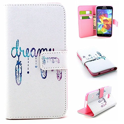 Samsung Galaxy S6 Edge Plus Wallet Funda,Carcasa PU Leather Cuero Suave Impresión Cover Con Flip Case TPU Gel Silicona,Cierre Magnético,Función de Soporte,Billetera con Tapa Libro Tarjetas para Samsun Pluma de sueño