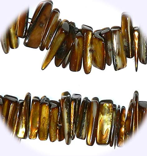 - New Dark Gold Color 17mm - 21mm Top-Drilled Nugget Stick Mother of Pearl Shell Jewelry-Making Bead DIY Craft Supplies for Handmade Bracelet Necklace