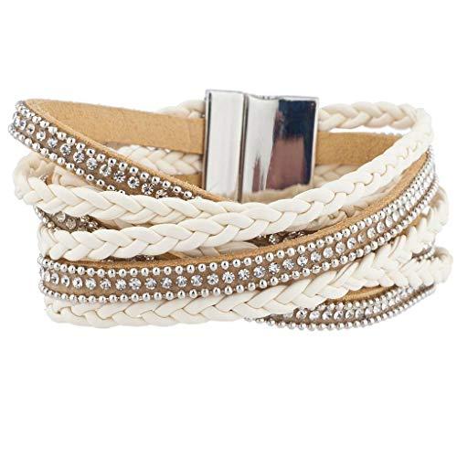 Lux Accessories Neutral Ivory Boho Braided Sticker Stone Magnetic Wrap Bracelet