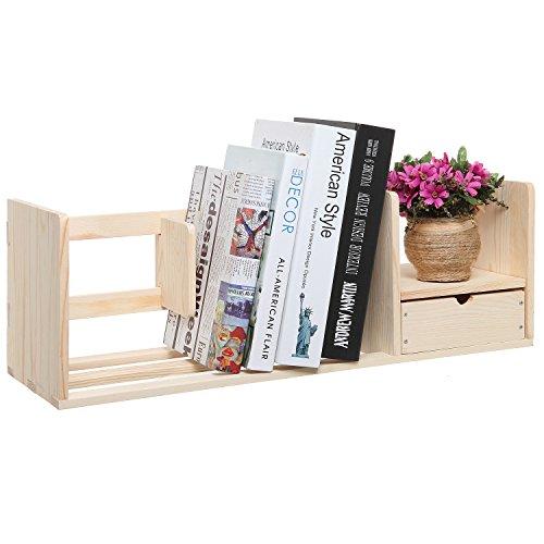 Natural Unfinished Wood Desktop Bookshelf & Organizer Caddy / Storage Shelf Rack w/ Drawer - MyGift® (Unfinished Wood Shelves compare prices)
