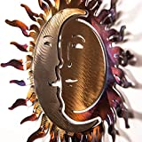 Hand-Forged Wrought Iron Sun and Moon Sculpture - Wall Art